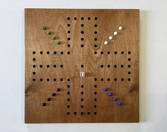 "Marble Game With Wooden Board 18"" Aggravation Game Board Wood Glass Marbles Wooden Game"