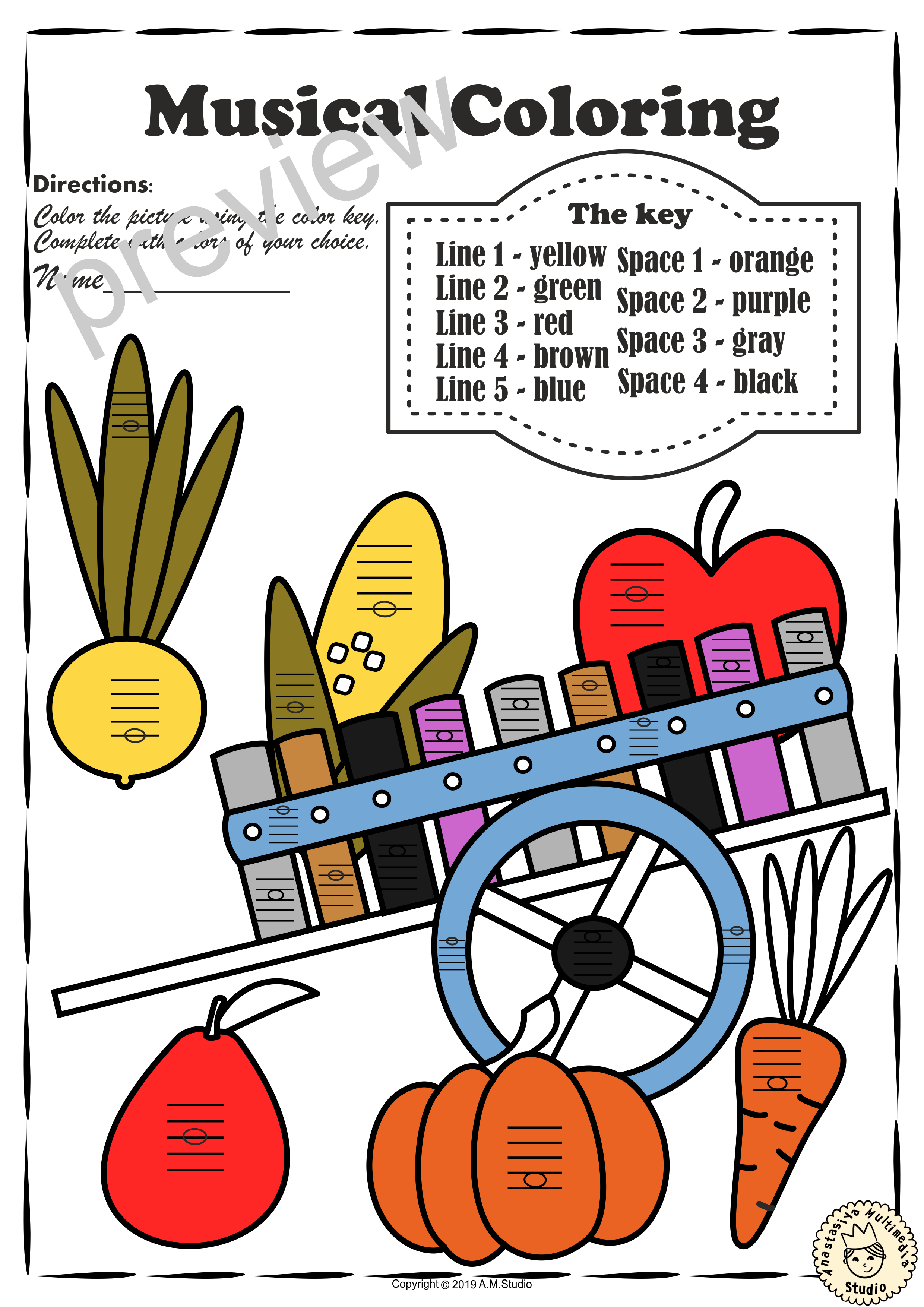 Musical Coloring Pages For Fall Lines And Spaces With