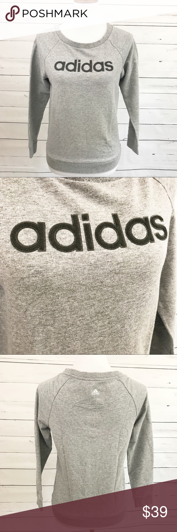 dc0a57dad56 ... Cute crew neck pullover sweatshirt by adidas. Adidas is written with  crystals adding a little sparkle to your gym or althleisure outfit. Size  small.