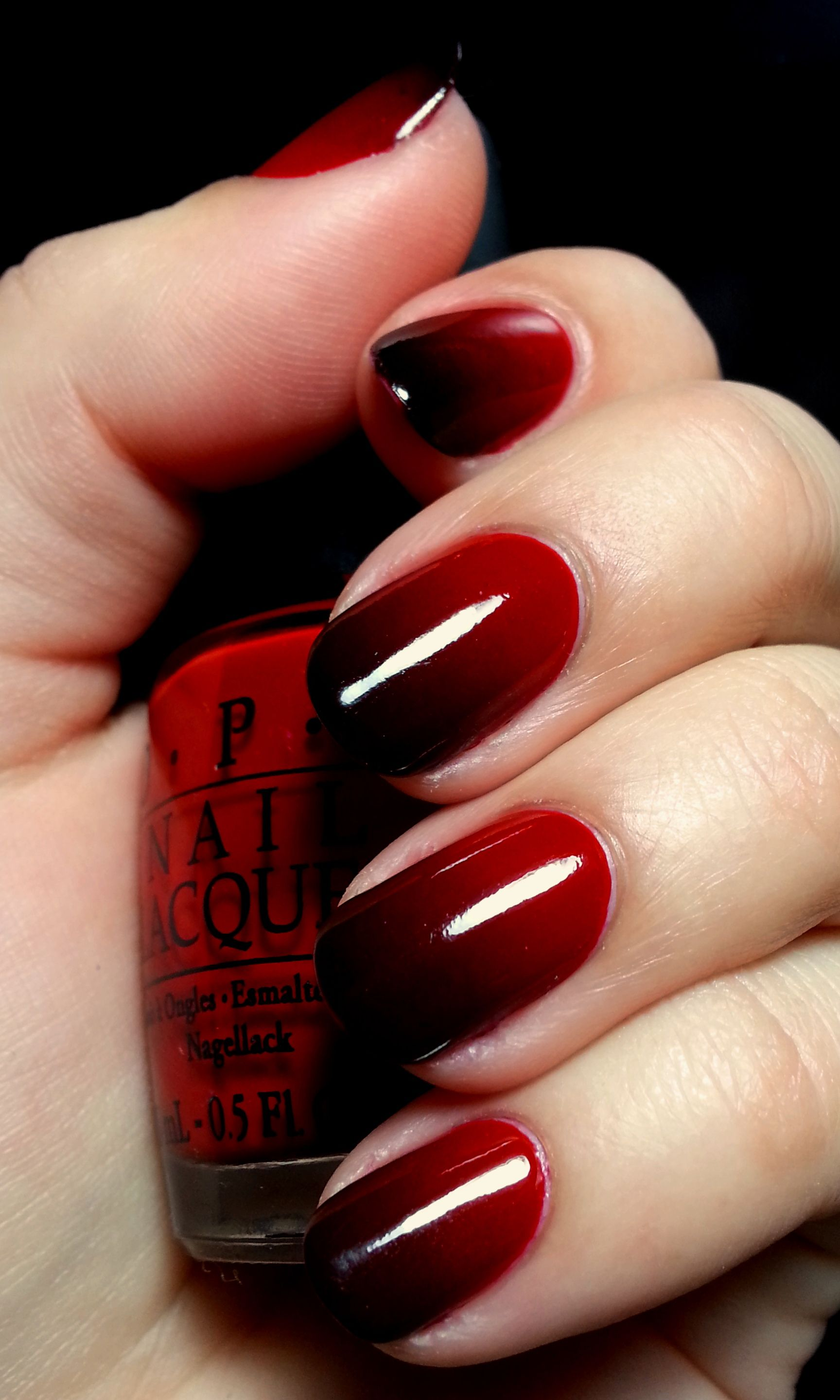 Dark Red Reverse Gradient Hearts | Ombre nail art, Ombre and Manicure
