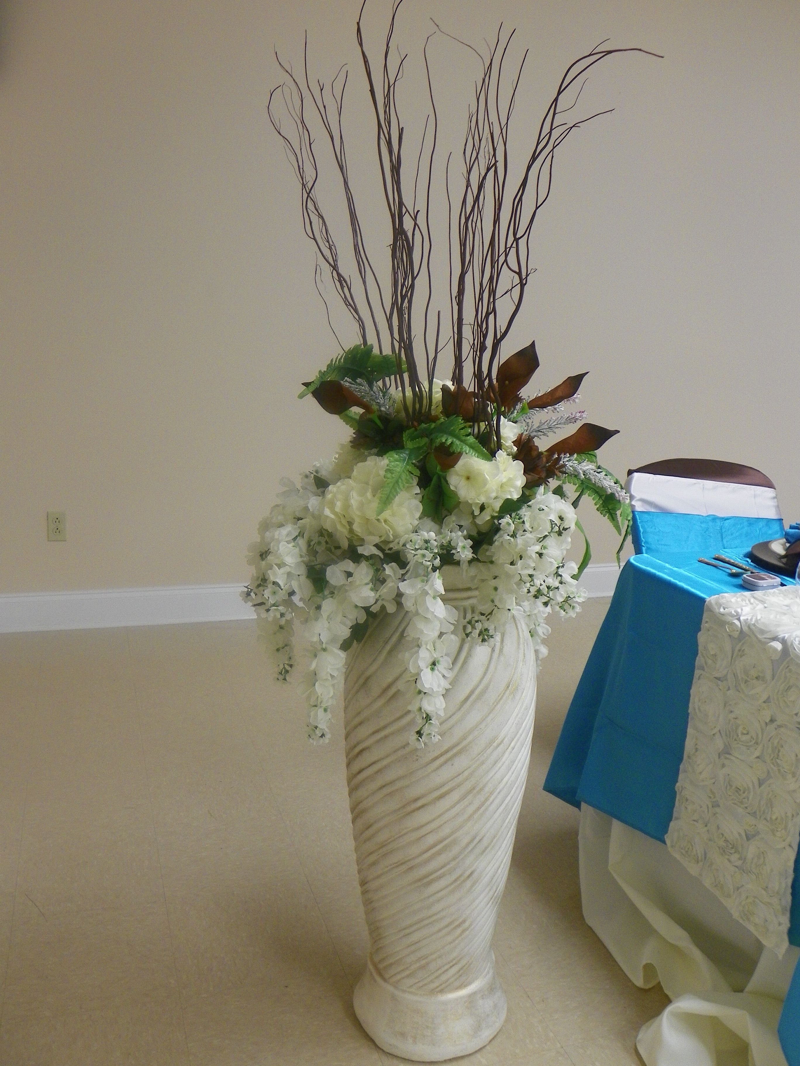 Decor to highlight head table...tall floor vase with ivory hydrangea on fruit vase, colored pencil vase, hyacinth vase, warrior vase, hydro vase, orange poppy vase, hibiscus vase, gardenia vase, lily vase, peony vase, rubin's vase, geometric vase, the blue vase, iron wall vase, lilies of the valley vase, succulent vase, bonsai vase, wedding bouquet vase, curly willow vase, wisteria vase,