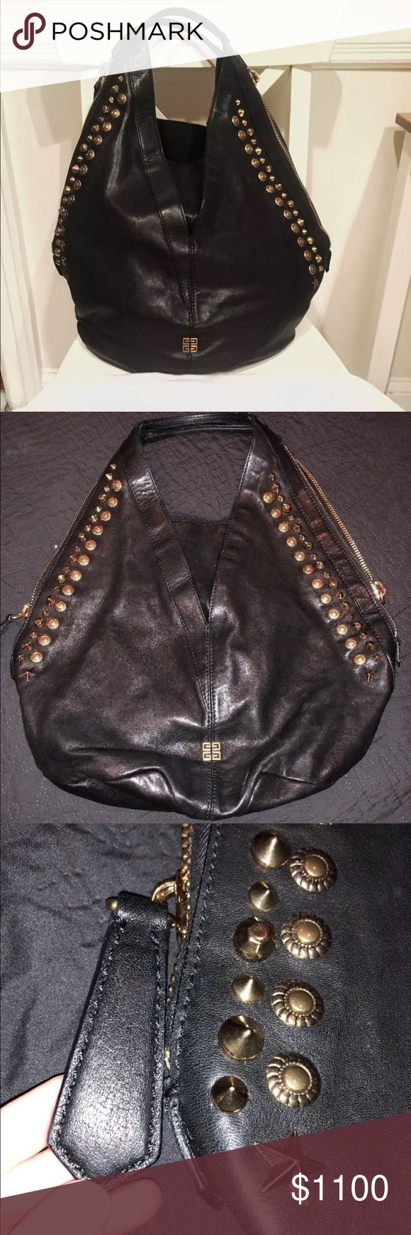 3e0d6f32b4c6 GIVENCHY Black Lambskin Gold Studded TINHAN Bag Get ready to give your look  an edgy finish