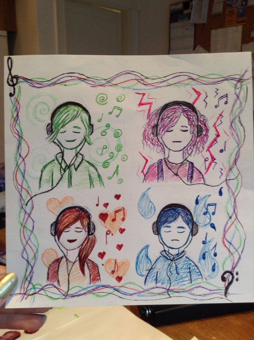 Old art design watercolour pencils biro music themed emotions rough