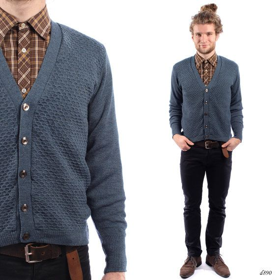 1950s Mens Cardigan . Blue Wool Cardigan Sweater . Fitted Cardi ...