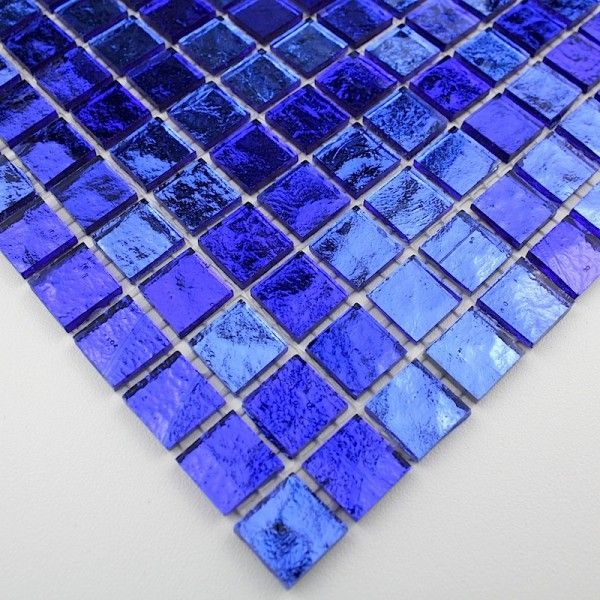 Carrelage verre mosaique douche salle de bain gloss bleu for Salle de bain carrelage noir et bleu