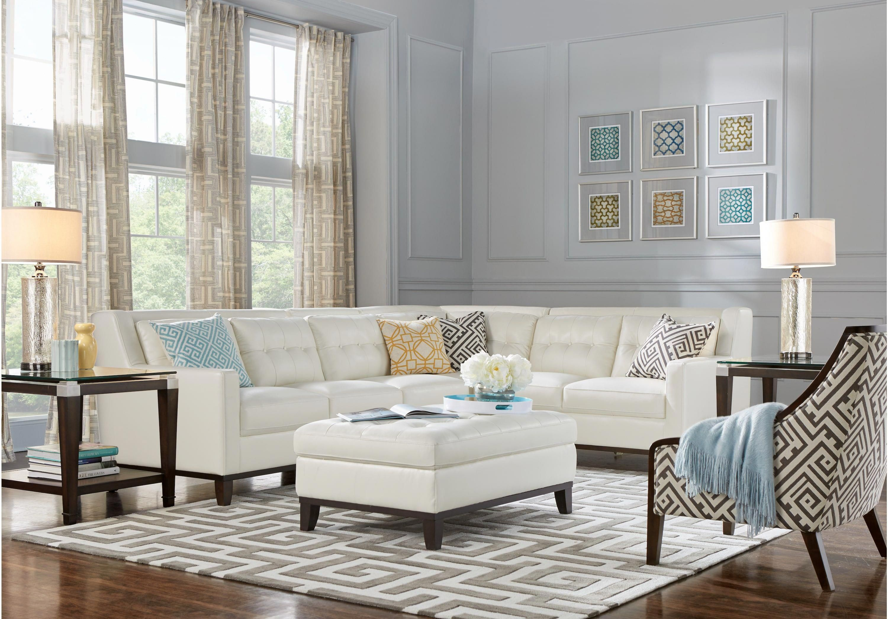 San Giovanni White 5 Pc Leather Sectional Living Room Leather Living Rooms White Contemporarylivingroomdec Leather Living Room Furniture Living Room Sectional Living Room White
