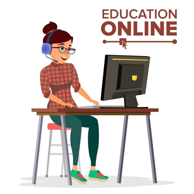 Education Online Vector Home Online Education Service Young Woman In Headphones Working With Computer Modern Learning Technology Isolated Flat Cartoon Illustrat In 2020 Learning Technology Online Education Education Logo Design