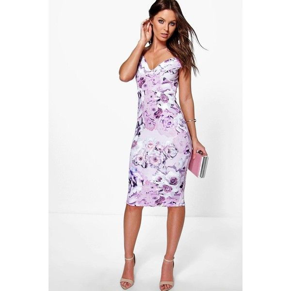 ad11494c9060 Boohoo Night Gracelynn Off The Shoulder Floral Midi Dress ($35) ❤ liked on  Polyvore featuring dresses, multi, white cami, white dress, floral midi  dress, ...