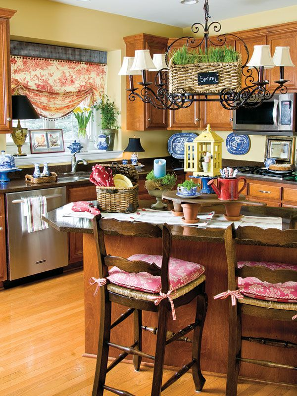 Pair up French country style with garden-fresh goods for a kitchen