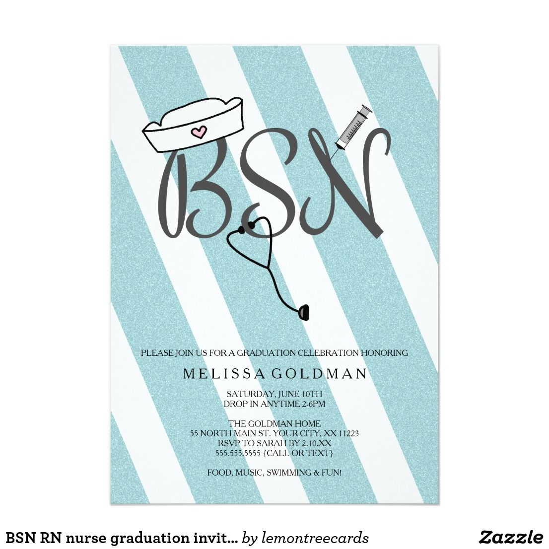 BSN RN Nurse Graduation Invites Teal Blue Glitter I Have This Design Available In Other Designations