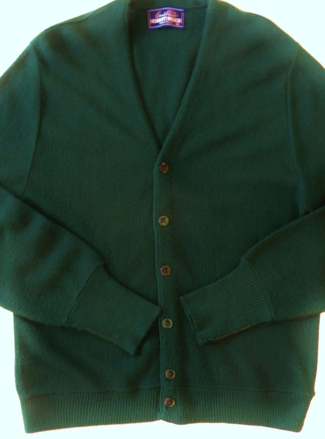 Handmade grey striped wool cardigan with green sleeves and buttons
