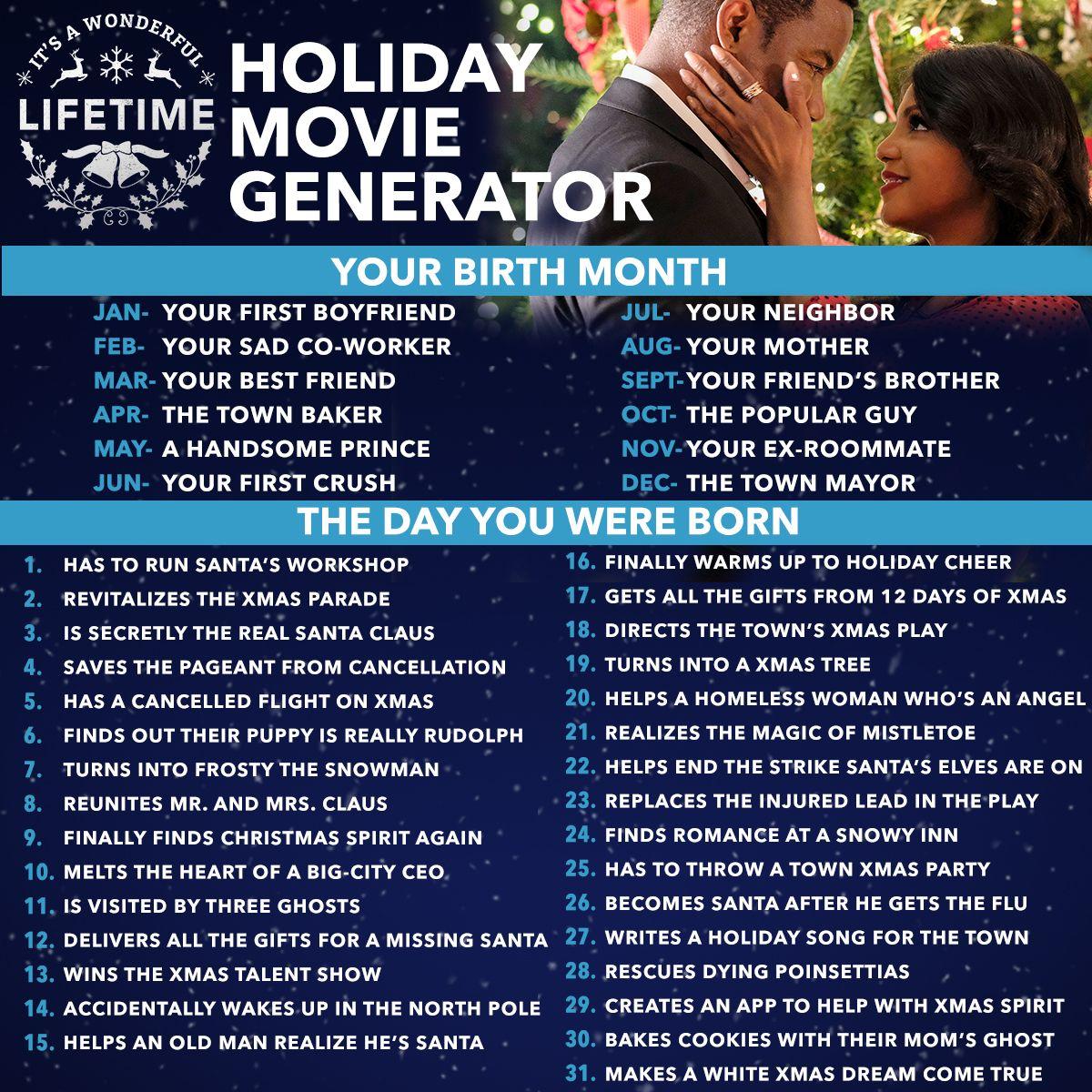 Lifetime Holiday Movie Generator Lifetime Movies Holiday Movie Best Christmas Movies