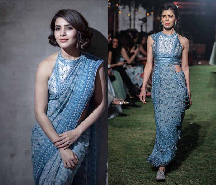 d75f986f91639 Samantha Akkineni wearing Anita Dongre  s Powder Blue Digital Print Saree  with Blouse! Shop this gorgeous attire!  samanthaakkineni  anitadongre   saree ...