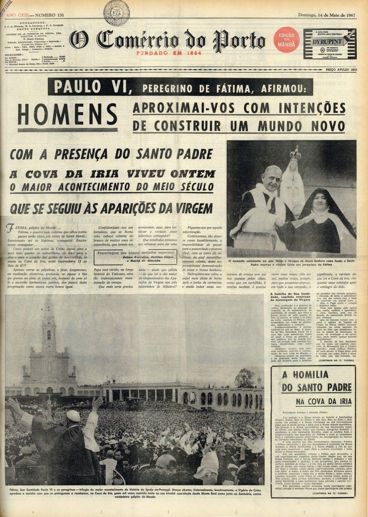 Efemerides 13 De Maio De 1967 A Visita De Paulo Vi A Fatima
