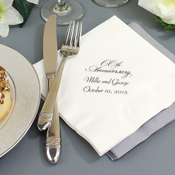 PACK15 DIAMOND 60TH WEDDING ANNIVERSARY QUALITY WHITE 3PLY DINNER NAPKINS