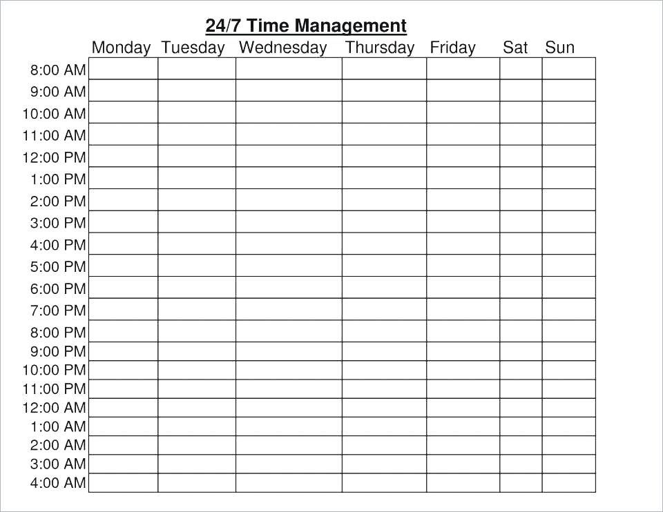 Weekly Hourly Planner Template Excel Schedule Template Time