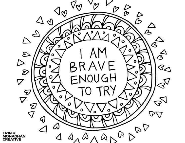Brave Enough To Try Growth Mindset Coloring Page Jpg Coloring Pages Free Coloring Pages Positive Words
