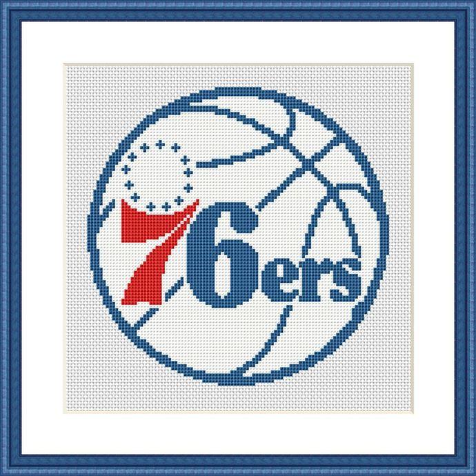 Philadelphia 76ers Logo Cross Stitch Pattern Basketball Nba Team Fan X Stitch Easy Simple Beginner Embroidery Gift For Boyfriend Husband In 2020 Simple Cross Stitch Cross Stitch Designs Cross Stitch Patterns