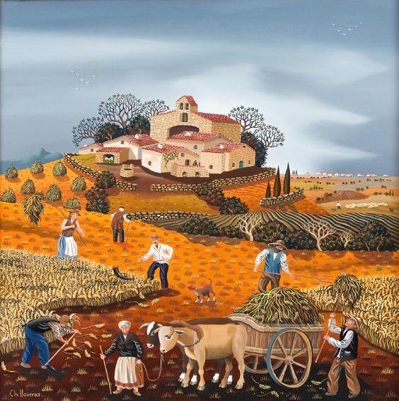 Gut bekannt peintre naïf, contemporain, né à Perpignan, entre peinture naïve  PS97