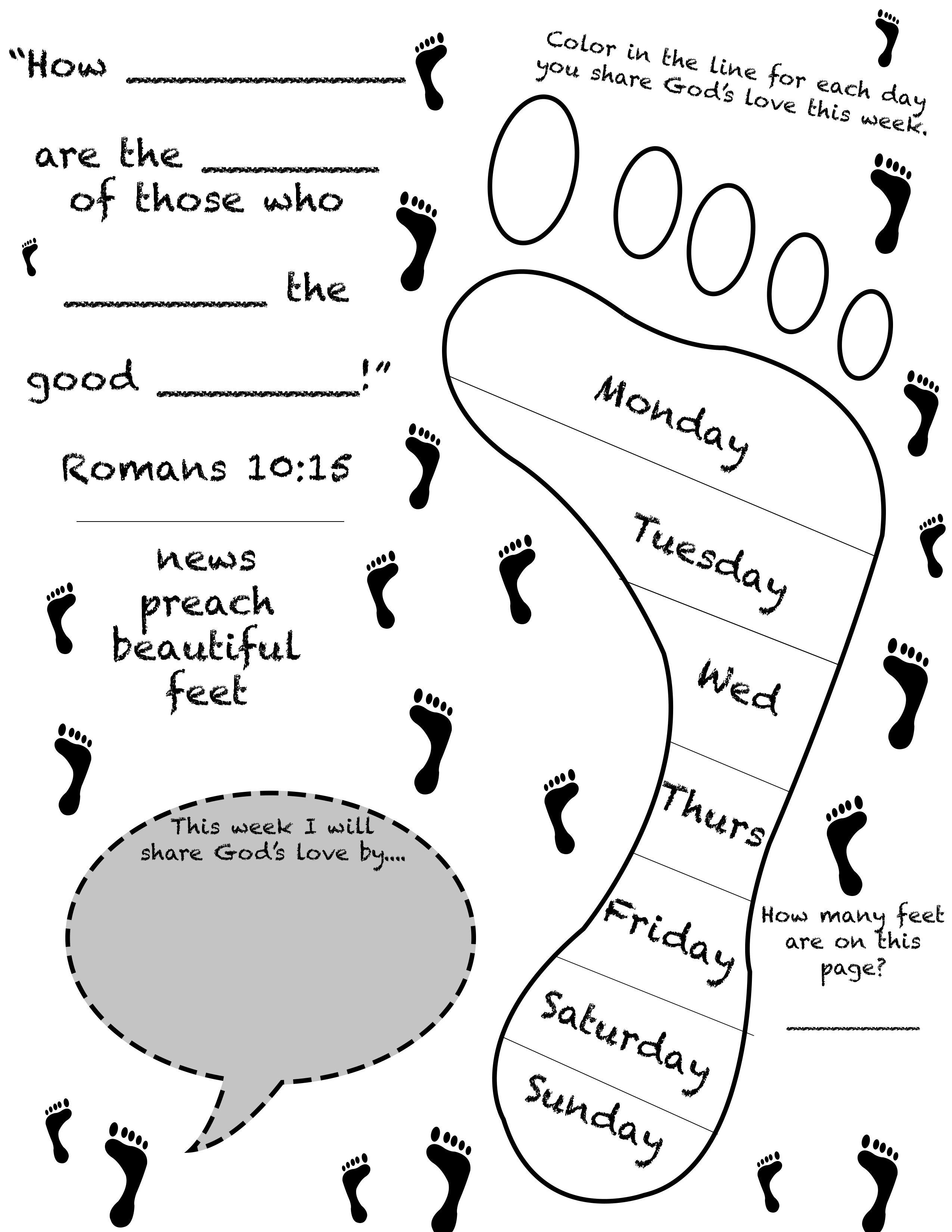beautiful feet worksheet for children u0027s ministry ministry