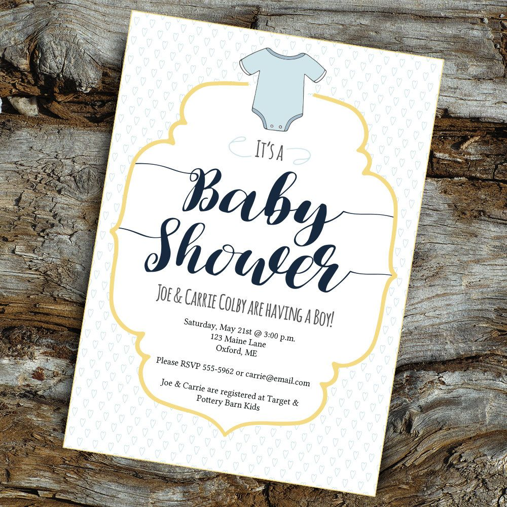 Baby shower card for boys 5x7 printable onesie