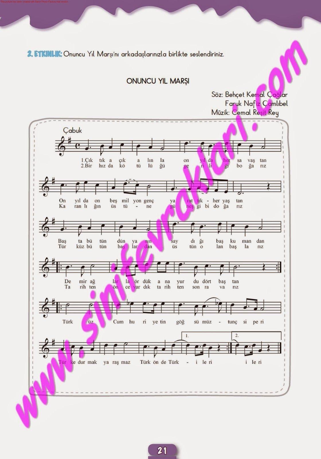 7sınıf Müzik çalışma Kitabı Cevapları Meb Yayınları Sayfa 21 7