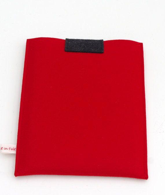 Red Felt iPad Sleeve Red iPad Cover Felt iPad Case by WeltinFelt