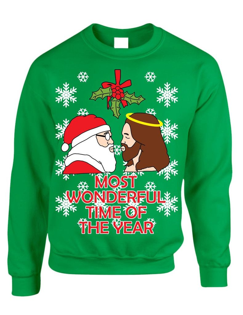 Most wonderful time Santa and Jesus Womens sweater | CHRISTMAS ...