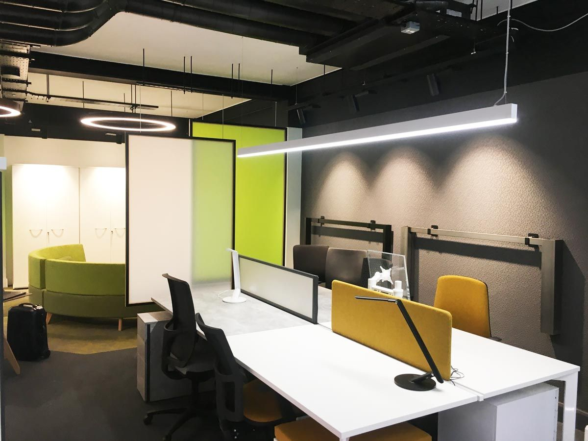 contemporary office lighting. Funky Bright Office Furniture With Modern, Contemporary Lighting. Long Linear Suspended Pendant Light Lighting