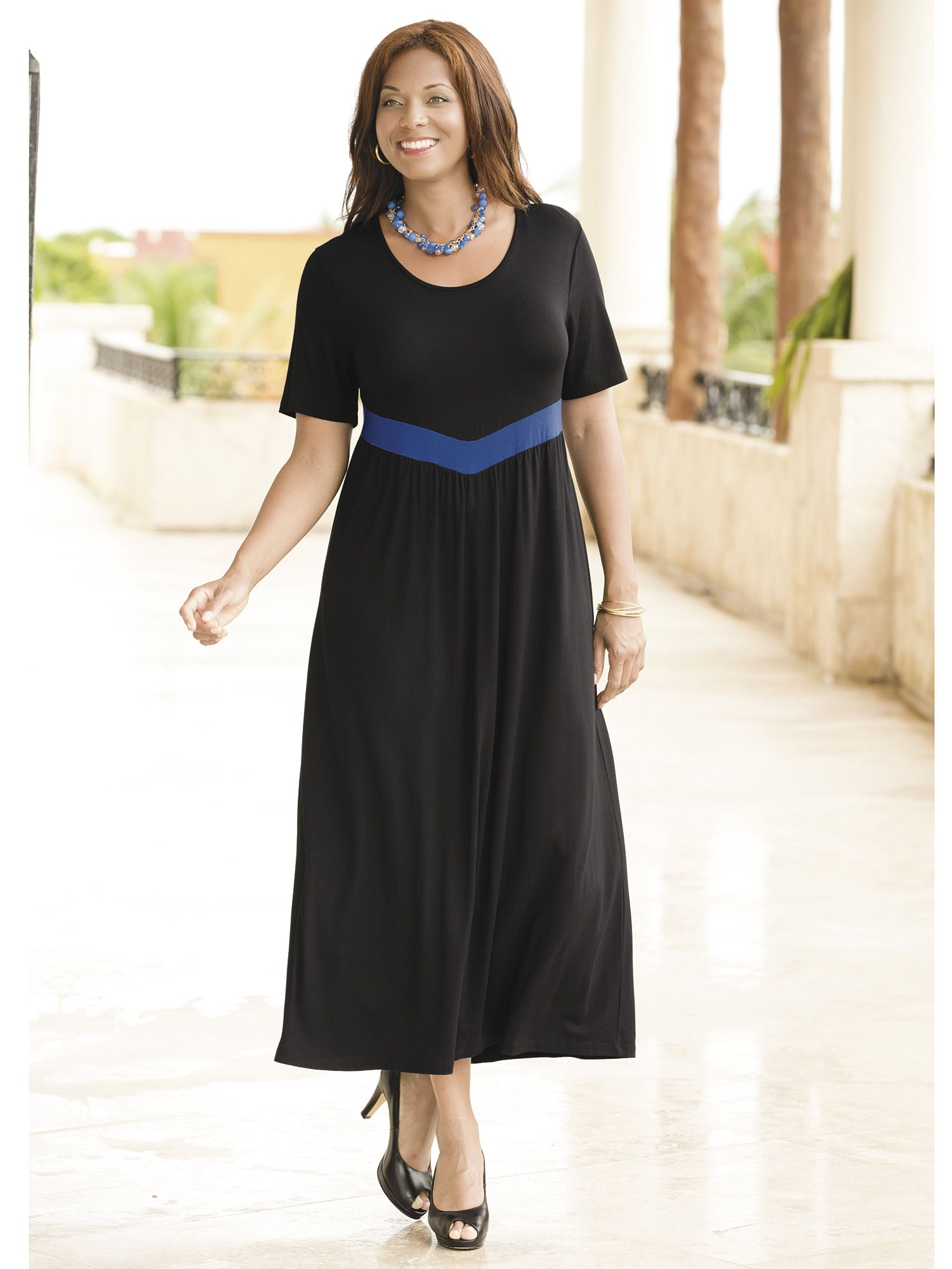 Plus Size V-waist Empire Knit Dress | ideas I like | Pinterest