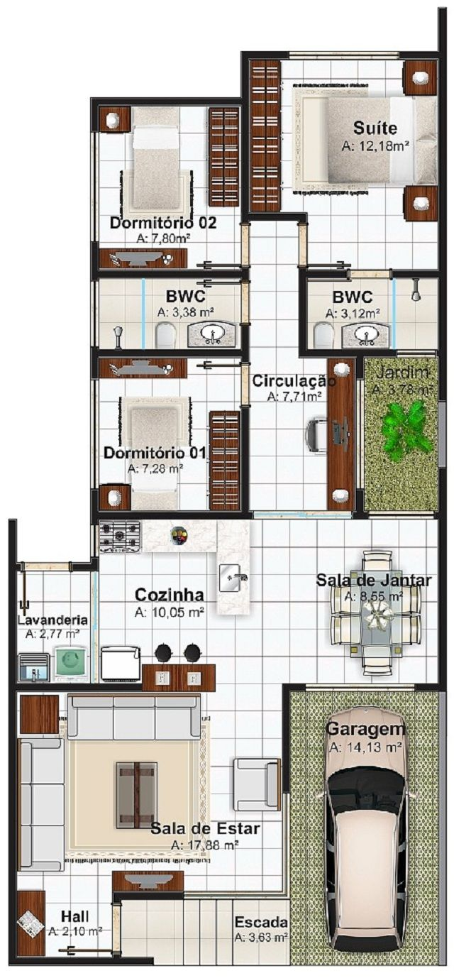Plano de casa de 113 m2 casas pinterest plan drawing for Comedor 20 metros cuadrados