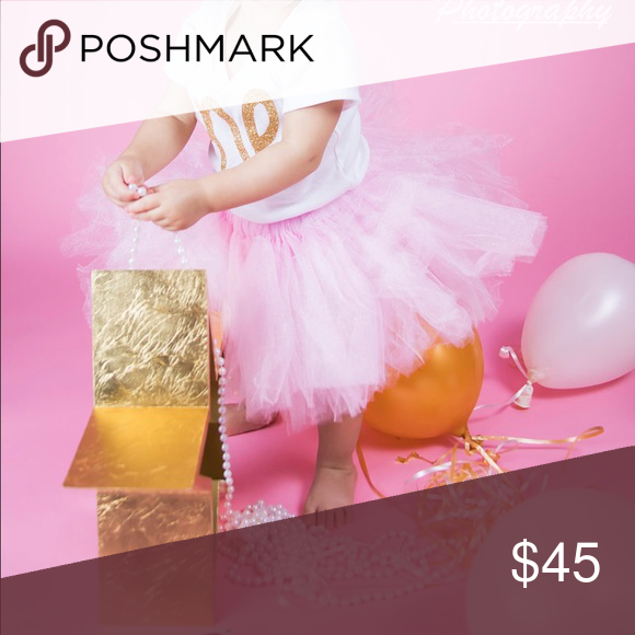 Pink tutu for first birthday Pink and gold first birthday outfit Other