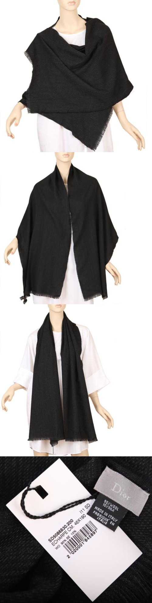 Scarves and Bandanas 169281: New Dior Super Soft Black Wool Silk Oversized Shawl Wrap Scarf Unisex -> BUY IT NOW ONLY: $70 on eBay!