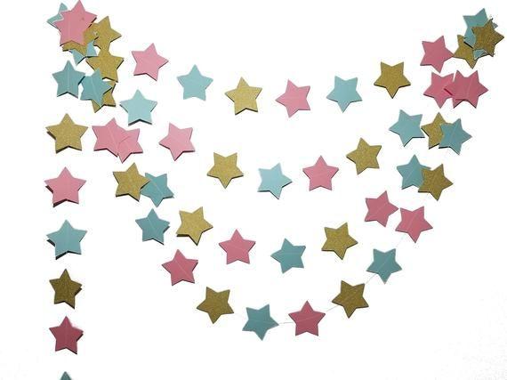 Gender Reveal Twinkle Twinkle Little Star Garland   Cake Smash Banner   First Birthday Garland   Lit