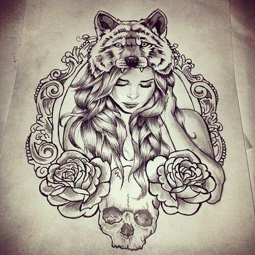 Beautiful Wolf And Woman Tattoo Inspiration Headdress Tattoo Wolf Tattoos Tattoos