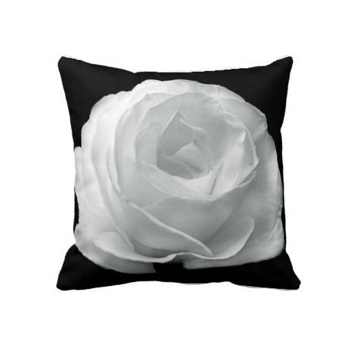 White Rose On Black Background Cushion Throw Pillows