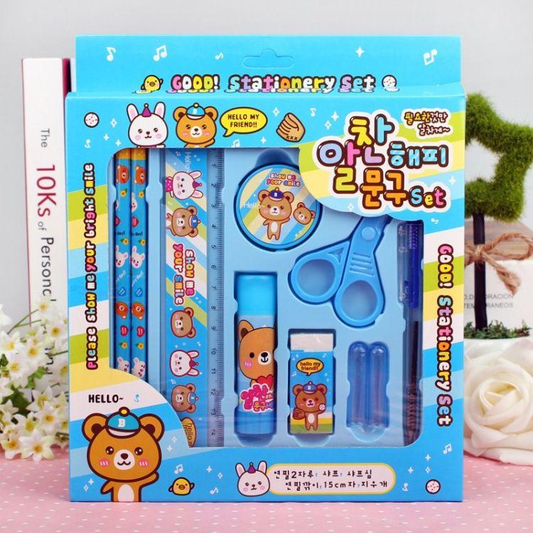10pcs Set Girl Boy Stationery Set Cartoon Ruler Eraser Gift Suit Portfolio Box Kids Children School Pencil Sets Schoo Kids School School Pencils Stationery Set