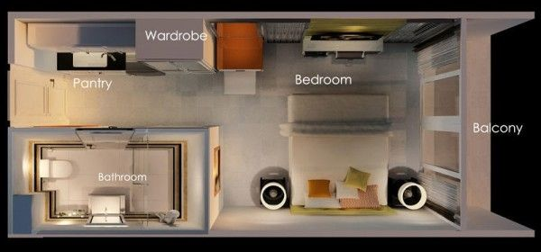 Studio Apartments Floor Plans 50 studio type single room house lay-out and interior design