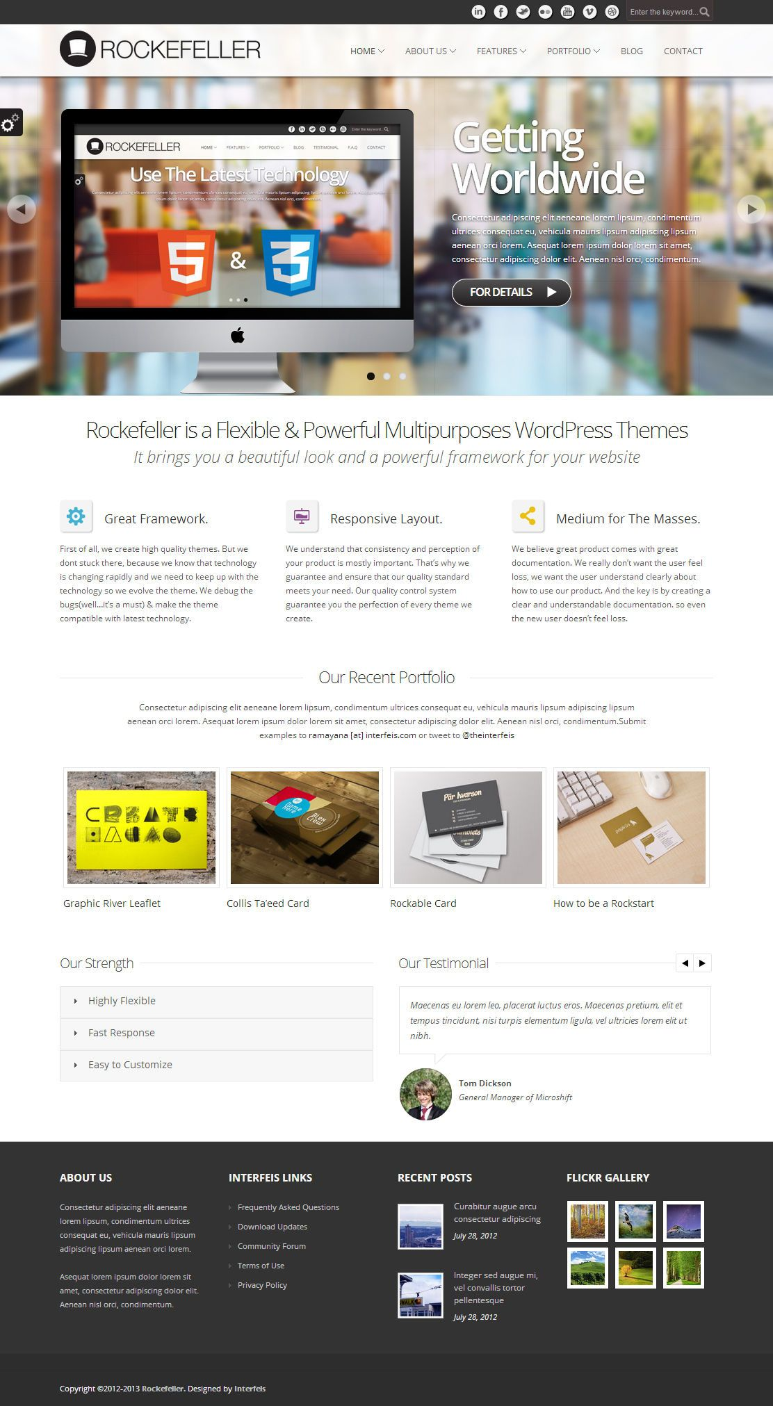 Rockefeller is a flexible and clean wordpress theme suitable for portfolio, corporate, business, photography, blog and any kind of websites.