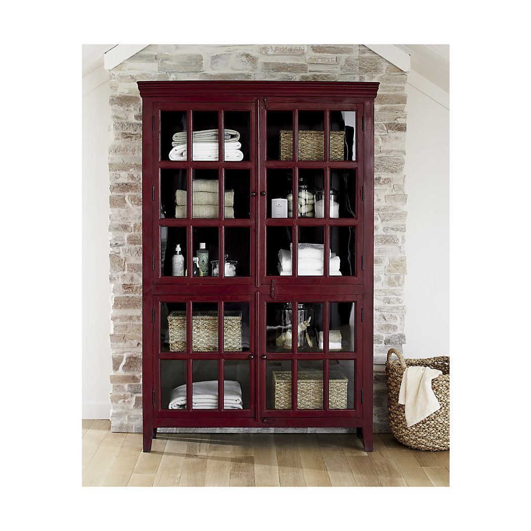 Shop Rojo Red Tall Cabinet. Umber overtones add depth of character to the rich red finish. The Rojo Red Tall Cabinet is a Crate and Barrel exclusive.  sc 1 st  Pinterest & Shop Rojo Red Tall Cabinet. Umber overtones add depth of character ...