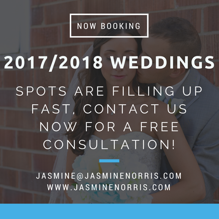 We are well into booking weddings for 2017 and even 2018 (we welcomed our first 2018 couple yesterday)!!!!  Contact us now to schedule your FREE consultation so we can discuss your wedding and photography needs!  Our 2016 availability is super limited but we still have a couple of wedding dates available as well!  http://ift.tt/20r7Tgb  jasmine@jasminenorris.com