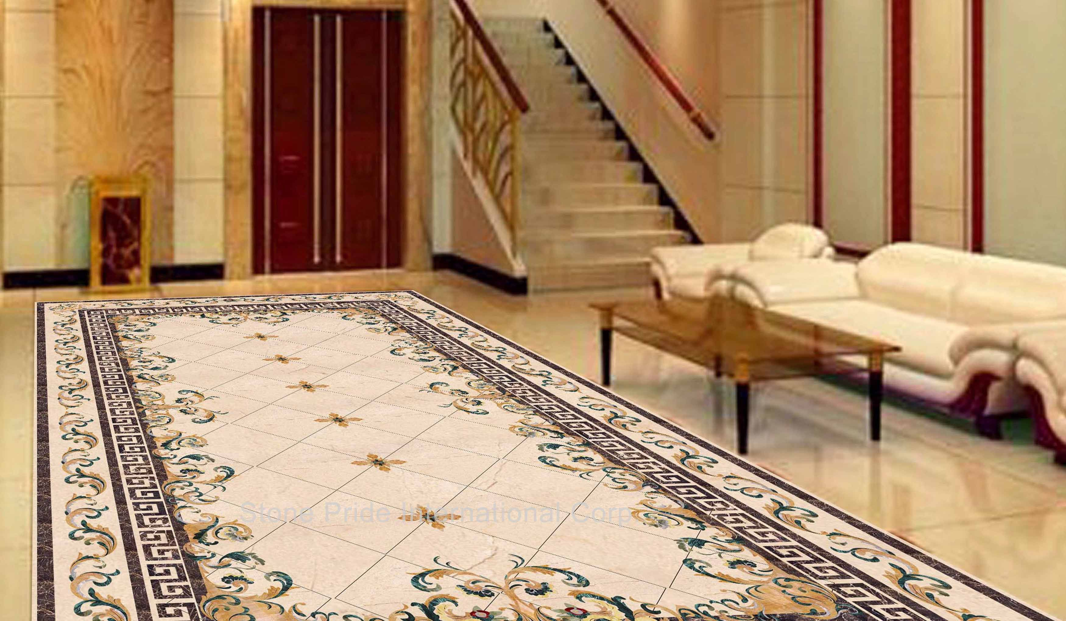 Marble Flooring Tile Design Ideas For Rectangular Living Room