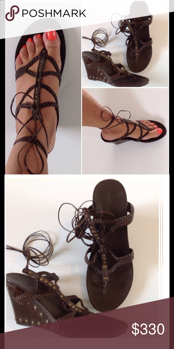 9e7d93126532 🌺 Lace up Sandals 🌺 Worn once. Studded wedge. Sexy. Dollhouse ...
