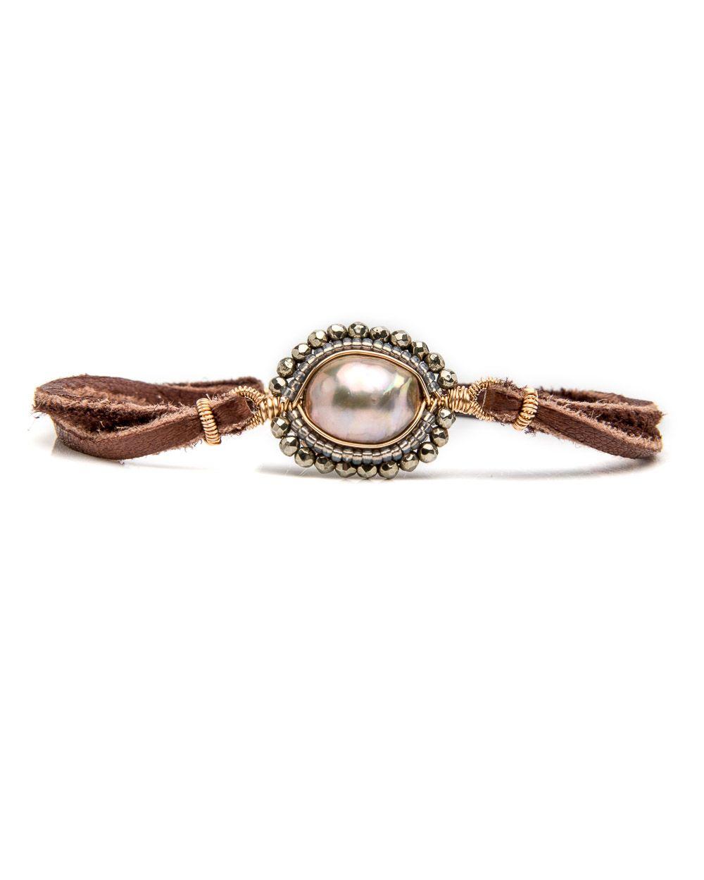 Dana Kellin Chocolate Leather Beaded Mix Bracelet Dual leather stand ...