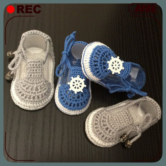 Baby crochet shoes, Baby Boy Crochet Sandals in Blue or Gray ...