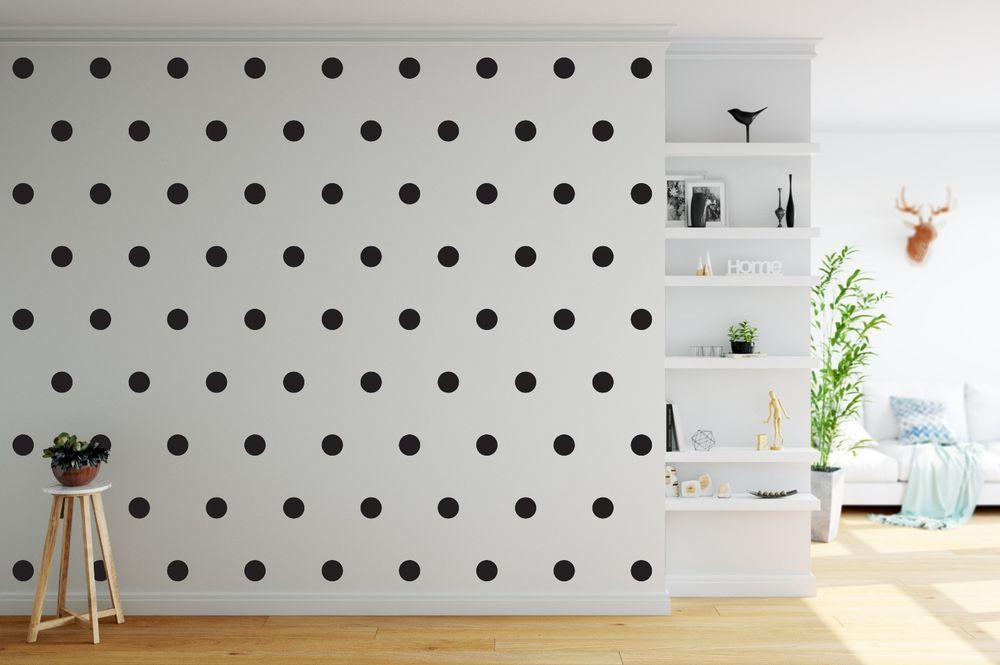 Pack Of 70 Black 3 Cm Polka Dots Spots Wall Art Stickers Decals