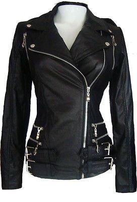 a63b0a01aabfc Para mujer Chaqueta de cuero de motociclista Con Cremalleras Color Negro  para Uso De Mujer