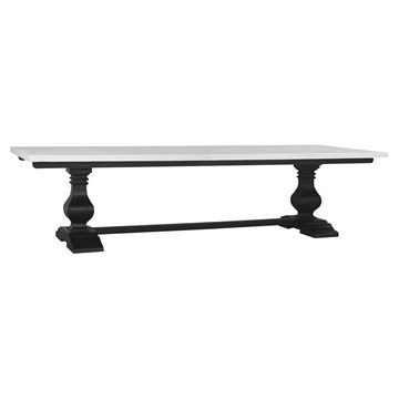 Calverton Solid Mahogany Timber Dining Table, 305cm, Black Harvest /  Architectural White