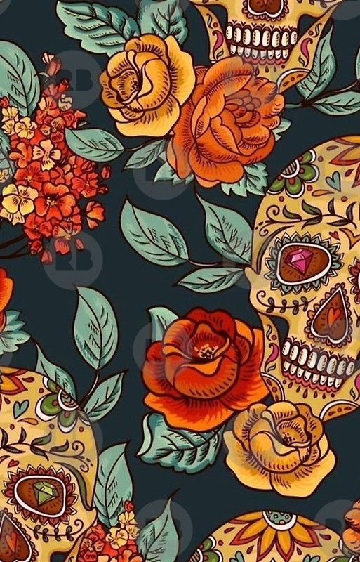 Sugar Skull & Rose's Seamless Pattern iPhone Case & Cover