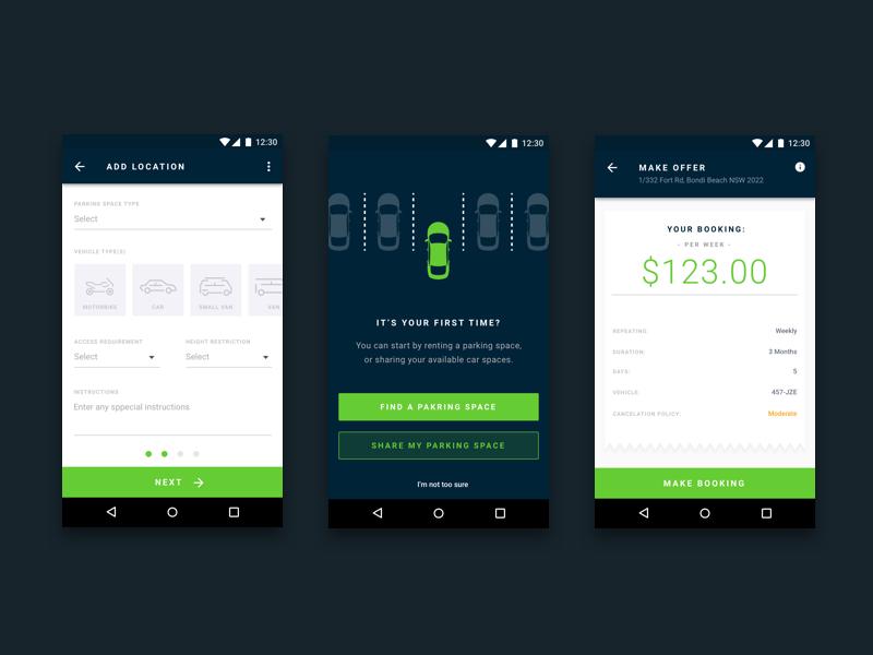 Android Parking App Design Parking App App Design Parking Design